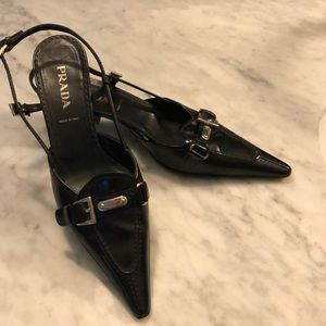 Vintage PRADA sling backs, kitten heel